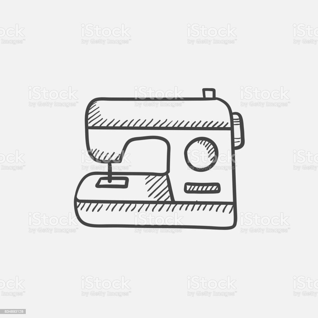 Ilustración de Icono De Esbozo De La Máquina De Coser y más banco de ...