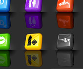 sex Modern 3D royalty free vector icon set. The 3D interface icons are on a dark Background and has a shadow and a reflection. Six vector buttons in red, yellow, green, blue, purple and black colors. Icon download includes vector art and jpg file.