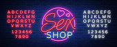 Sex Pattern Logo, Sexy xxx concept for adults in neon style. Neon sign, design element, storage, prints, facades, window signs, digital projects. Intimate store. Vector. Editing text neon sign.