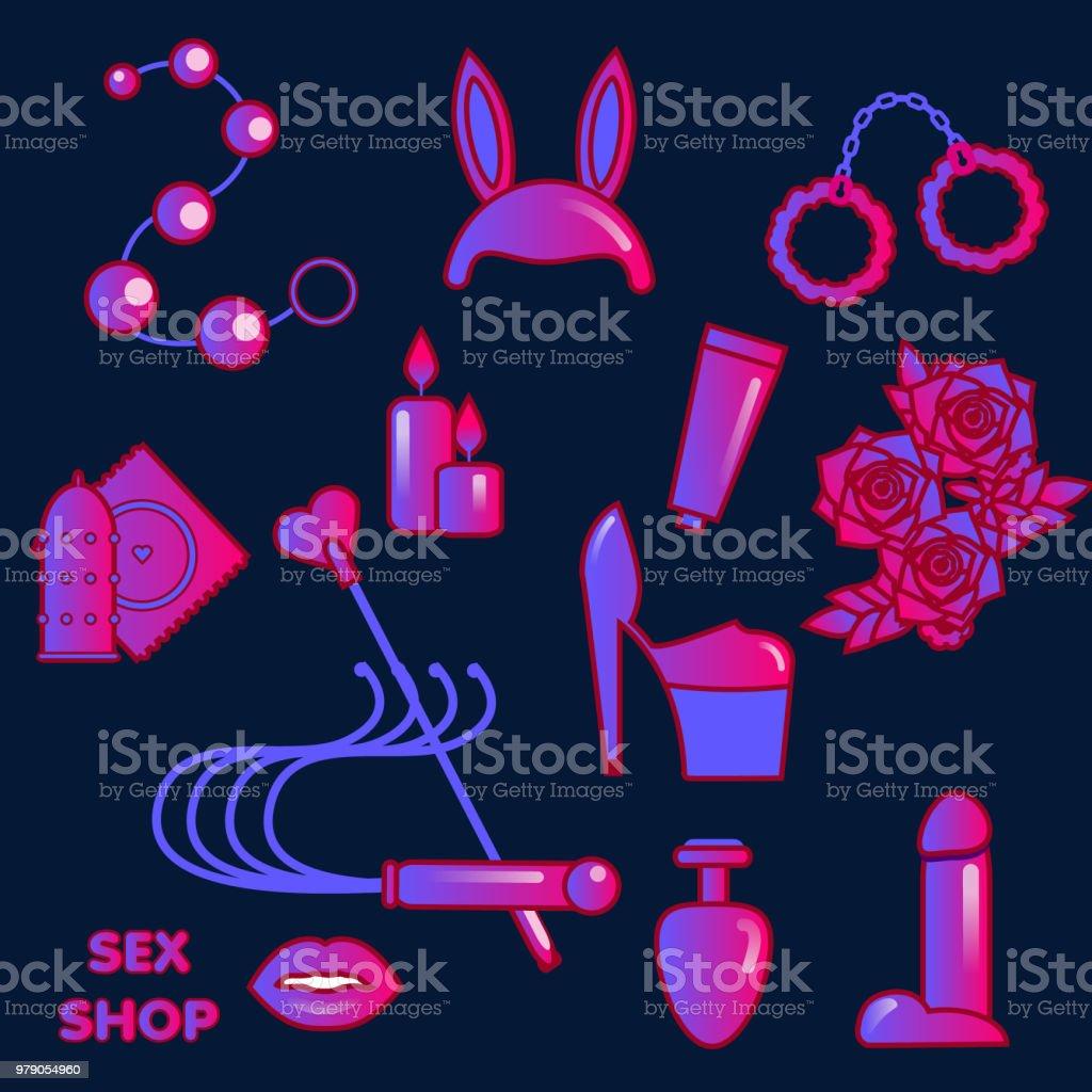 Ícones de loja de sexo. Símbolos eróticos. Brinquedos e jogos para adultos - ilustração de arte em vetor