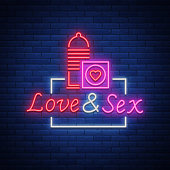 Sex Shop is a neon sign logo. Vector illustration. Love Sex. Bright neon sign, luminous banner, nightly bright advertisement of sex shop