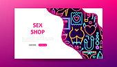 Sex Shop Neon Landing Page. Vector Illustration of Adult Toys Web Banner.