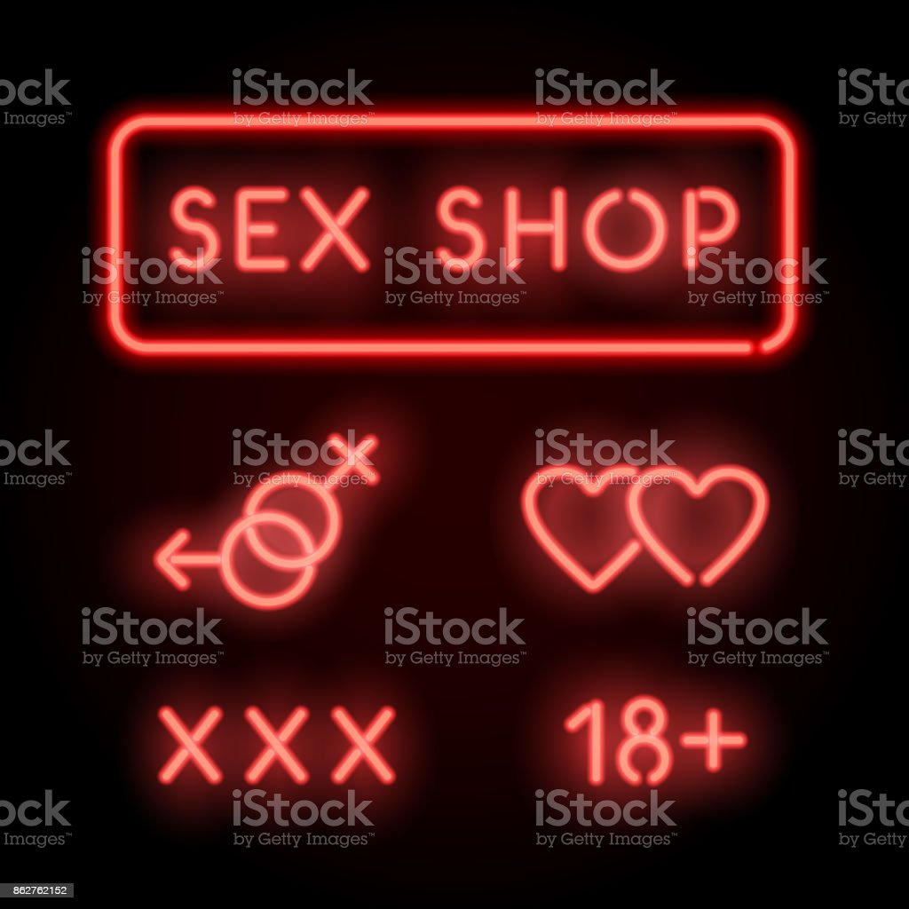 Sex shop neon. Vector red signs. Adult store vector art illustration