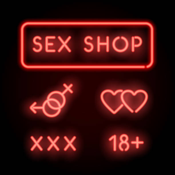sex shop neon. vector red signs. adult store - zmysłowość stock illustrations