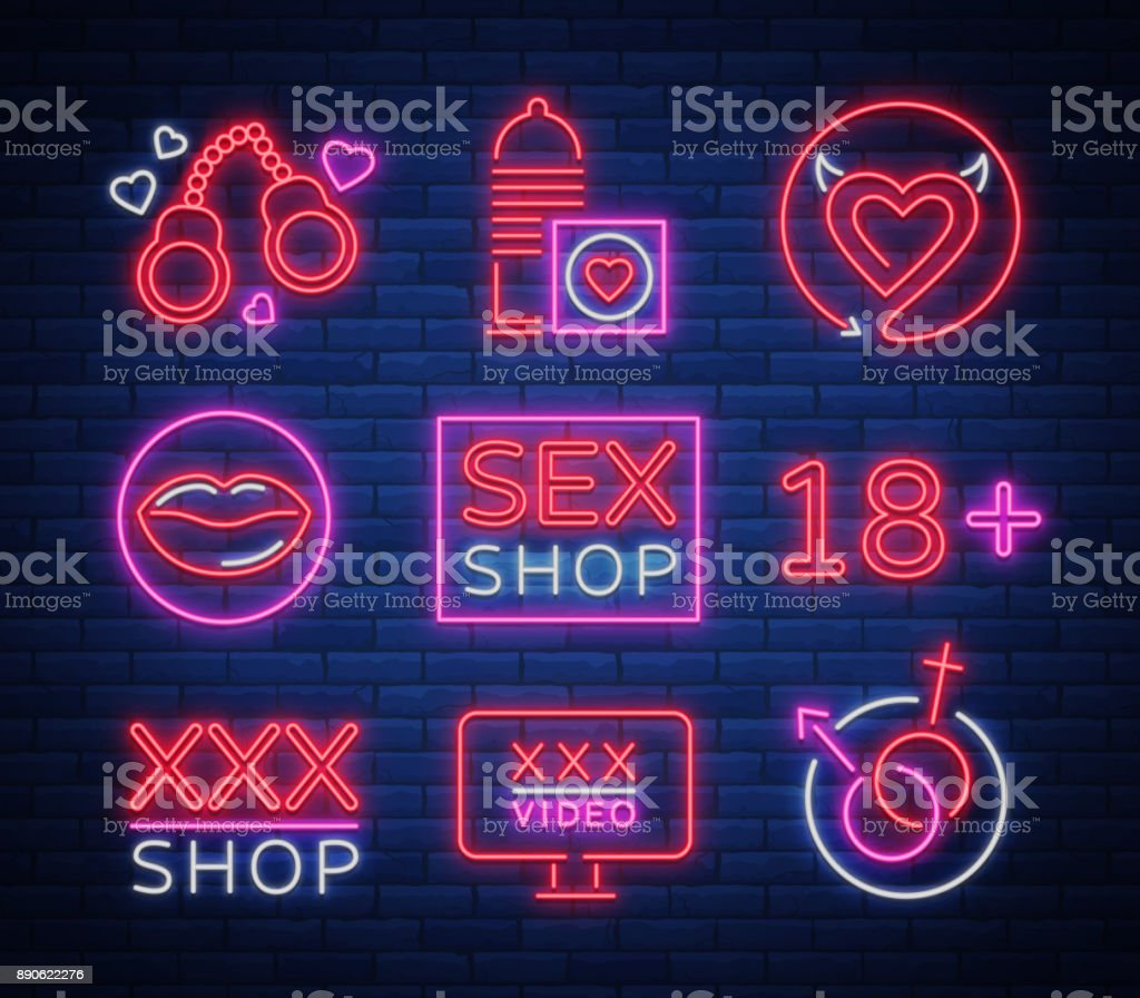 Sex Shop Set Of Icons Signs Symbols In Neon Style Collection Of