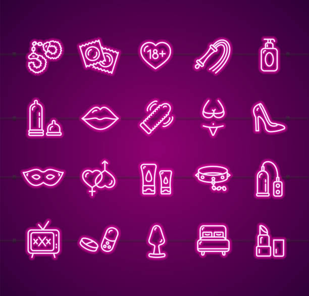 Sex Shop Signs Neon Thin Line Icon Set. Vector Sex Shop Signs Neon Thin Line Icon Set Include of Toy, Handcuffs, Whip and Condom. Vector illustration of Icons sensuality stock illustrations