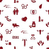 sex theme simple red icons seamless pattern eps10
