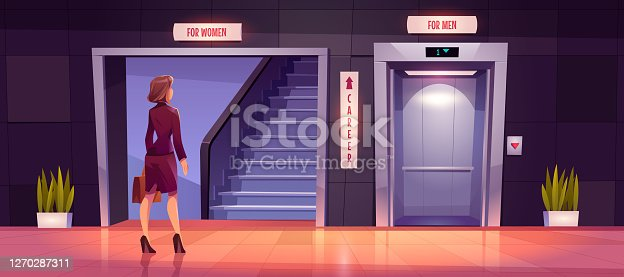 Sexism and discrimination of women in career growth. Preoccupied businesswoman stand near ladder and open lift doors for men. Unequal career opportunities, glass ceiling. Cartoon vector illustration