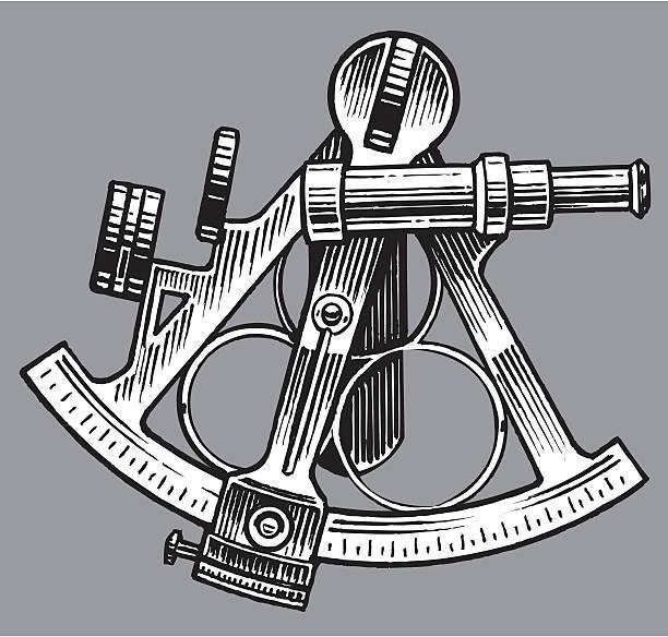 ilustrações de stock, clip art, desenhos animados e ícones de sextante-equipamento náutico - sextante