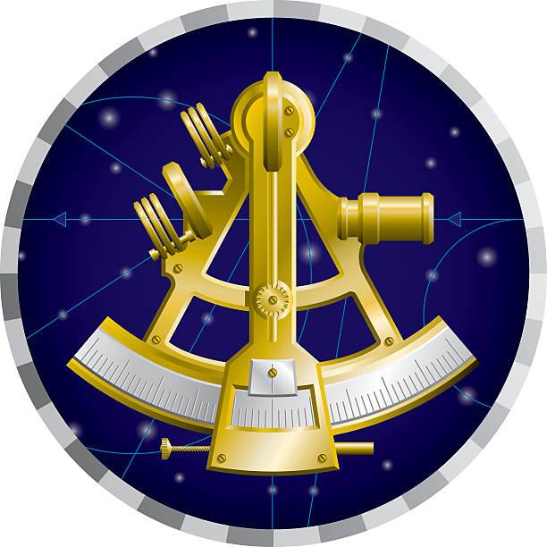 ilustrações de stock, clip art, desenhos animados e ícones de sextante de navegação - sextante