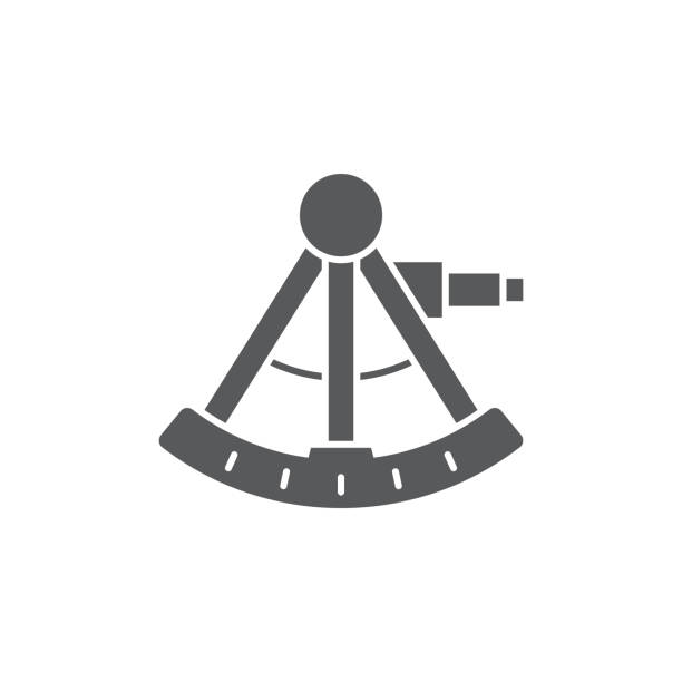 ilustrações de stock, clip art, desenhos animados e ícones de sextant vector icon symbol isolated on white background - sextante