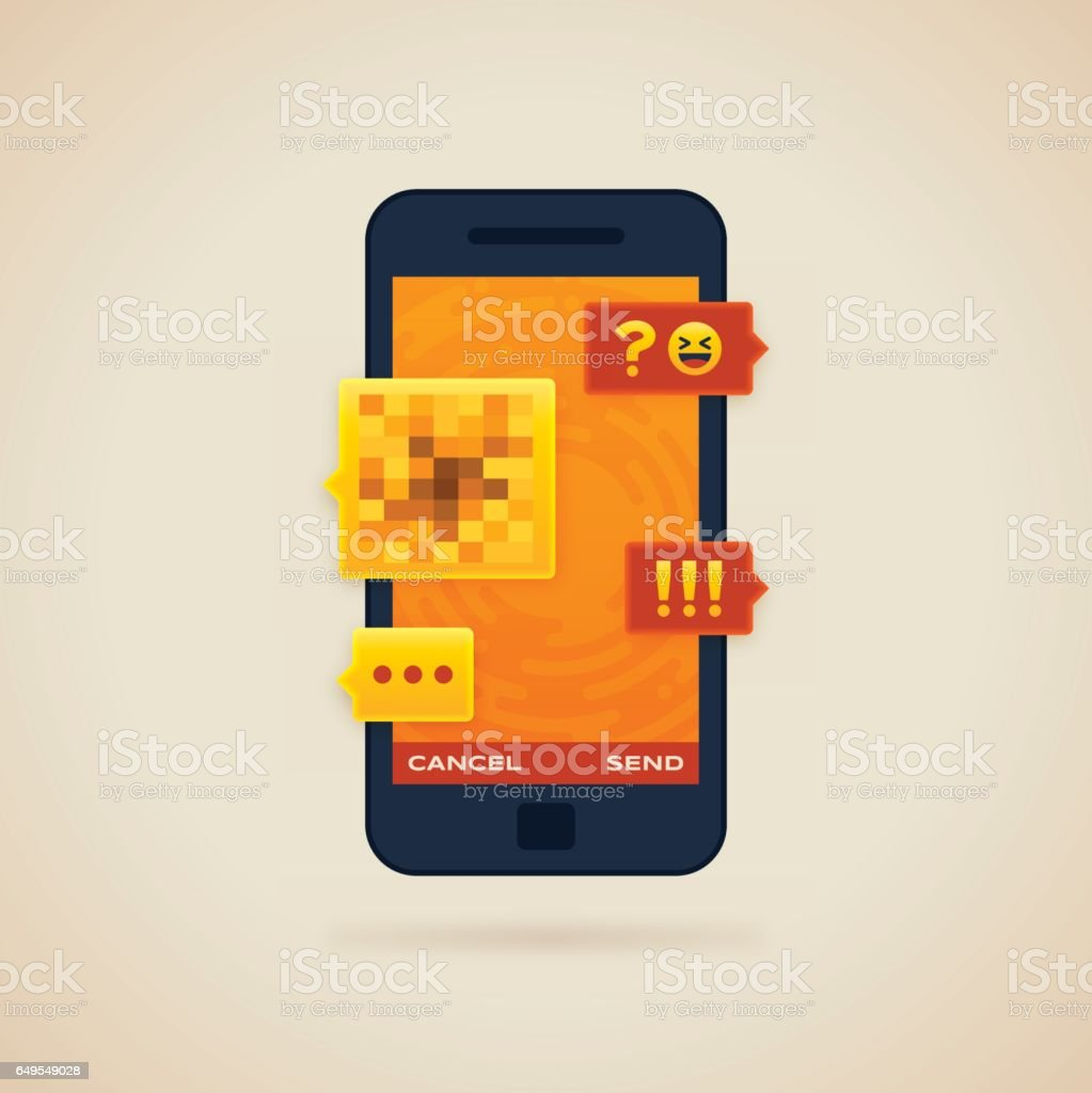 Sexting Mobile Phone Chat vector art illustration