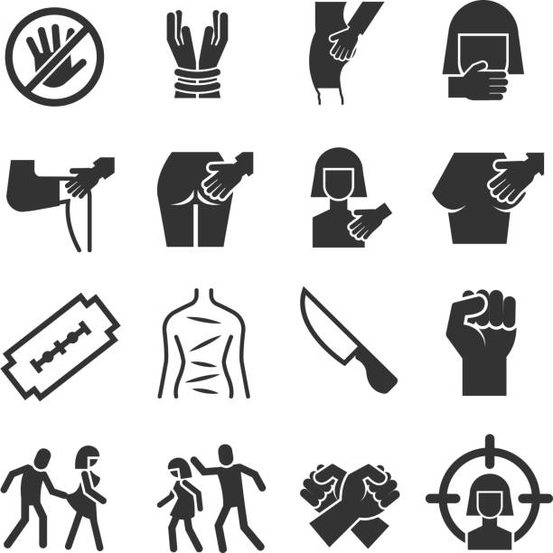 Sexual abuse, harassment, violence vector icons set Sexual abuse, harassment, violence vector icons set. Touch knee and breast illustration aggression stock illustrations