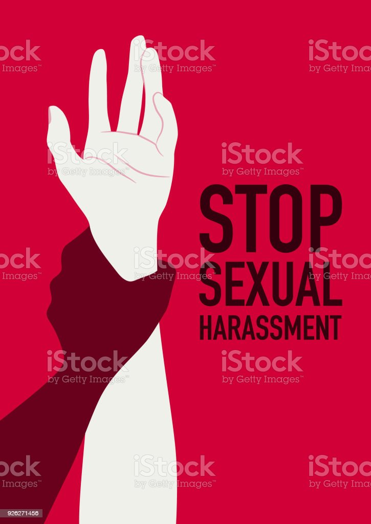 Sexual abuse man attacking to a scared woman vector art illustration