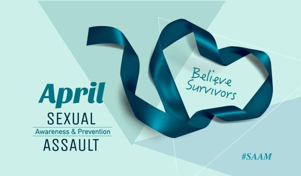 sexual assault awareness month (april) concept with teal awareness ribbon. - ovarian cancer ribbon stock illustrations