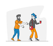 Sexual Harassment, Assault, Exaction Concept. Pretty Young Woman Walk with Cup of Coffee, Grinning Male Character with Lustful Face Trying to Touch Girl Buttocks. Linear People Vector Illustration