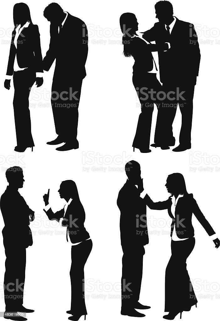 Sexual harassment in office vector art illustration