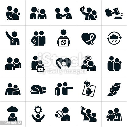A set of sexual harassment in the workplace icons. The icons show several different situations of unwanted holding or touching by a workplace co-worker or supervisor. The icons also include symbols of hope and justice for those victims of sexual abuse.