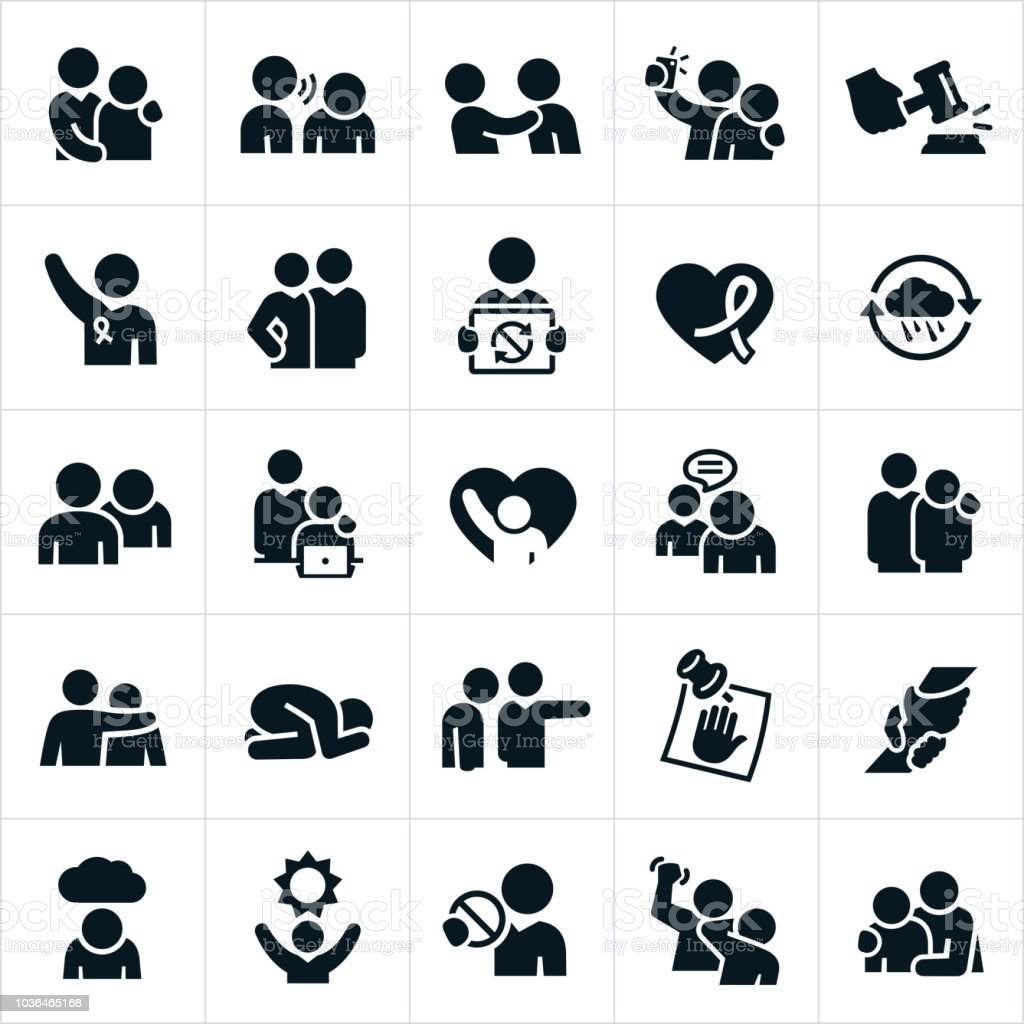 Sexual Harassment in the Workplace Icons vector art illustration