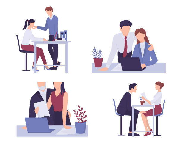 Sexual harassment in workplace set. Assault and abuse behavior. Male boss or coworker vector art illustration