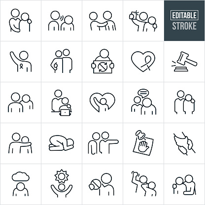 A set of sexual harassment icons that include editable strokes or outlines using the EPS vector file. The icons include work and other situations of sexual harassment. They include a manager holding a colleague, employee using inappropriate language to another employee, employee advances on another worker as they push away, worker taking a picture of another employee against their will, awareness ribbon, gavel, boss with hand on the shoulder of one of his employees, person experiencing emotion distress from sexual harassment, hope, hands clasped, support for those that are sexually harassed and other related icons.