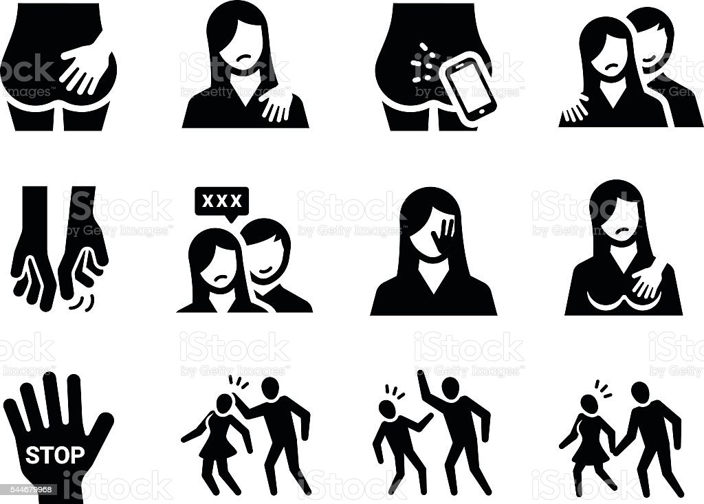 Sexual Harassment Vector Icon Set vector art illustration