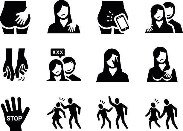 illustrazioni stock, clip art, cartoni animati e icone di tendenza di molestie sessuale - violenza donne