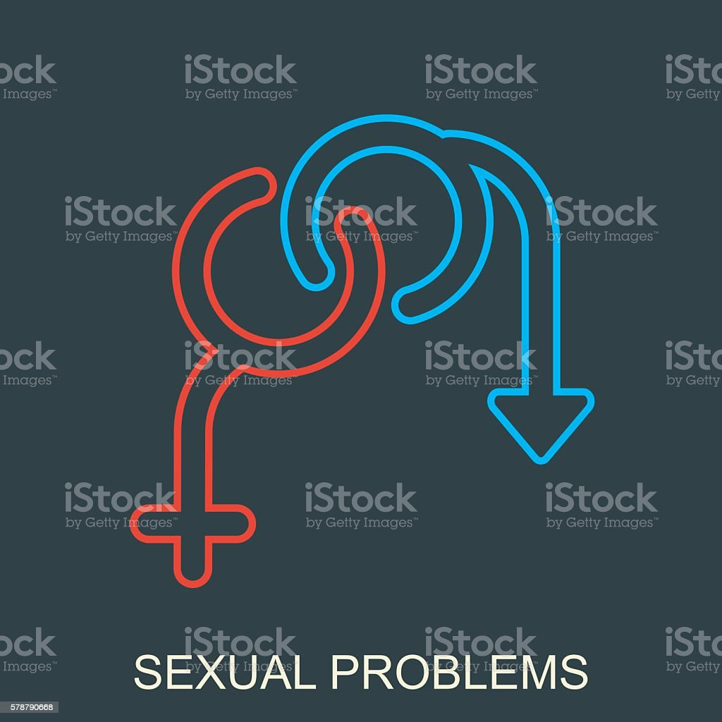 Sexual problems vector logo on black vector art illustration
