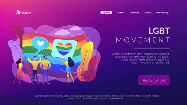 Sexuality and gender identity concept landing page. Rainbow coloured flag and LGBT community demonstration with hearts. Sexuality and gender identity, sexual orientation, LGBT movement concept. Website vibrant violet landing web page template. gay person stock illustrations