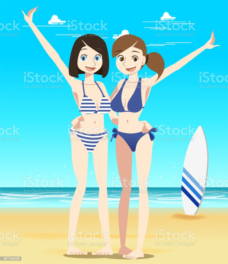 Sexy and beautiful. Tour with two young women friends at the beach. vector art illustration
