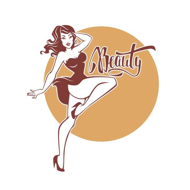 sexy and beauty retro pinup girl and lettering beauty for your logo or label design sexy and beauty retro pinup girl and lettering beauty for your logo or label design pin up girl stock illustrations