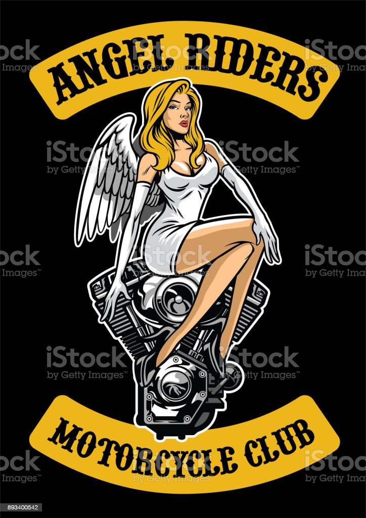 sexy angel and motorcycle engine vector art illustration