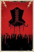 Sexy black corset lingerie with dripping blood vintage background poster