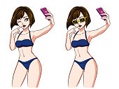 Sexy cartoon girl takes a selfie. Brunette girl in blue swimsuit and yellow sunglasses. Hand drawn vector illustration, isolated on white. Can be used for game, cards, magazines, poster, t-shirt.