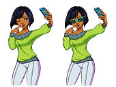 Sexy cartoon girl takes a selfie. Brunette girl in green shirt, leggings and sunglasses. Hand drawn vector illustration, isolated on white. Can be used for game, cards, magazines, poster, t-shirt.