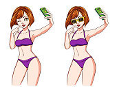 Sexy cartoon girl takes a selfie. Girl with red hair wearing violet swimsuit and sunglasses. Hand drawn vector illustration, isolated on white. Can be used for game, cards, magazines, poster, t-shirt.