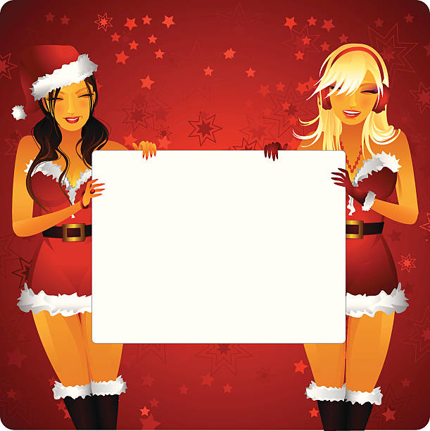 sexy christmas banner vector art illustration