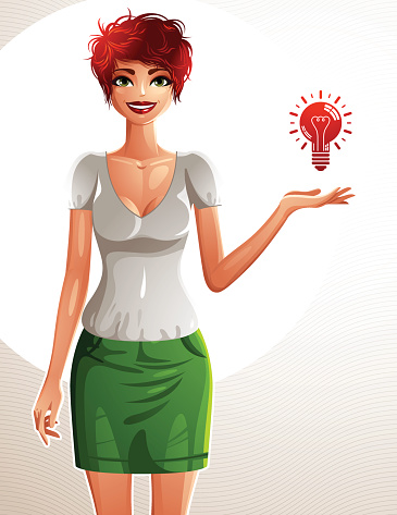Sexy coquette red-haired woman, full body portrait.