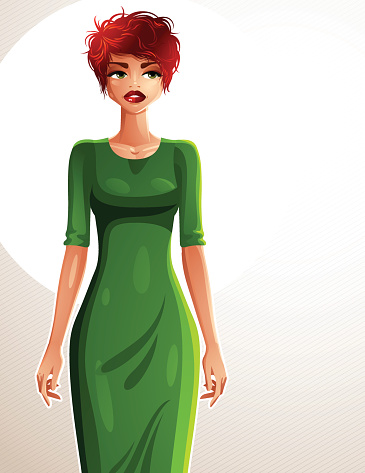 Sexy coquette white-skin woman wearing an elegant dress,