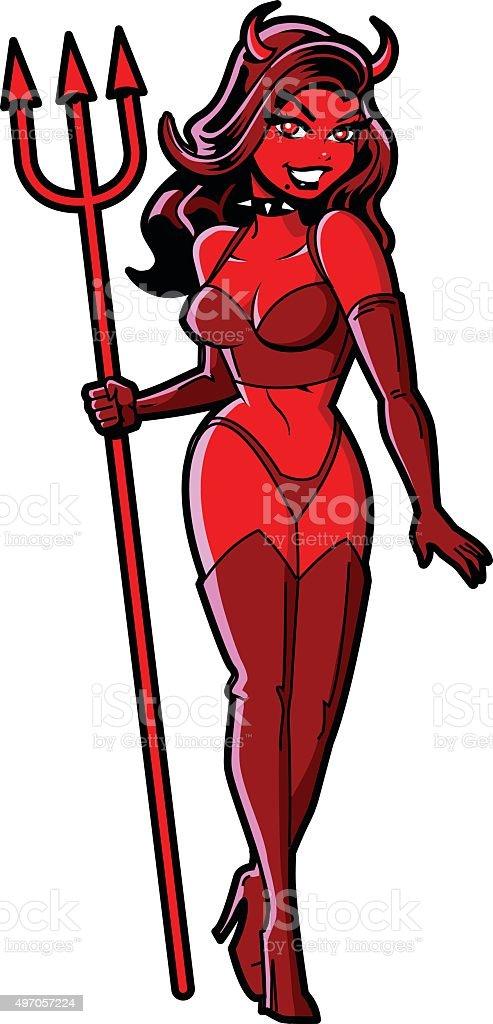 Sexy Devil Girl vector art illustration