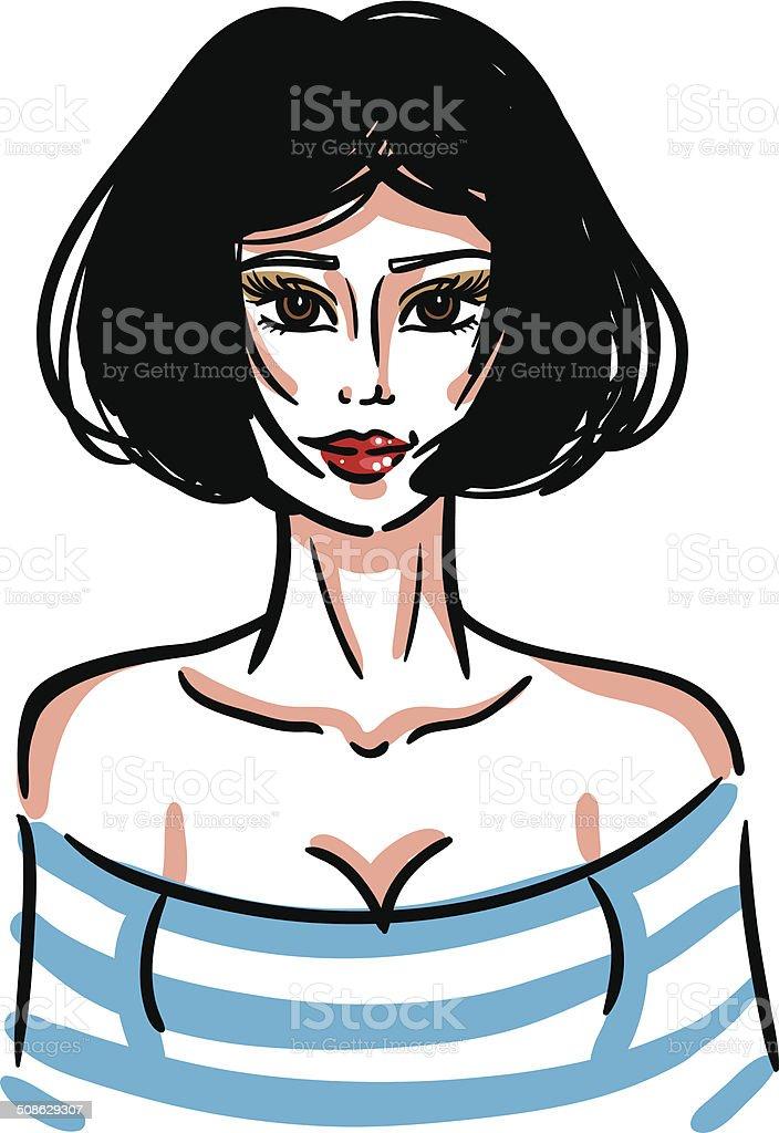 Sexy fashion girl vector art illustration