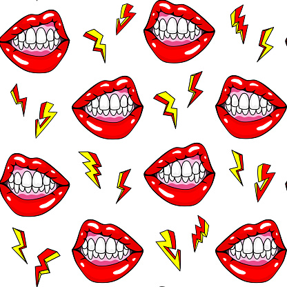 Sexy female mouth showing teeth in an angry pose and lightning strikes seamless pattern. Pop art style background. Modern design for printing, textiles, fabrics, wrapping papers, wallpapers, etc.