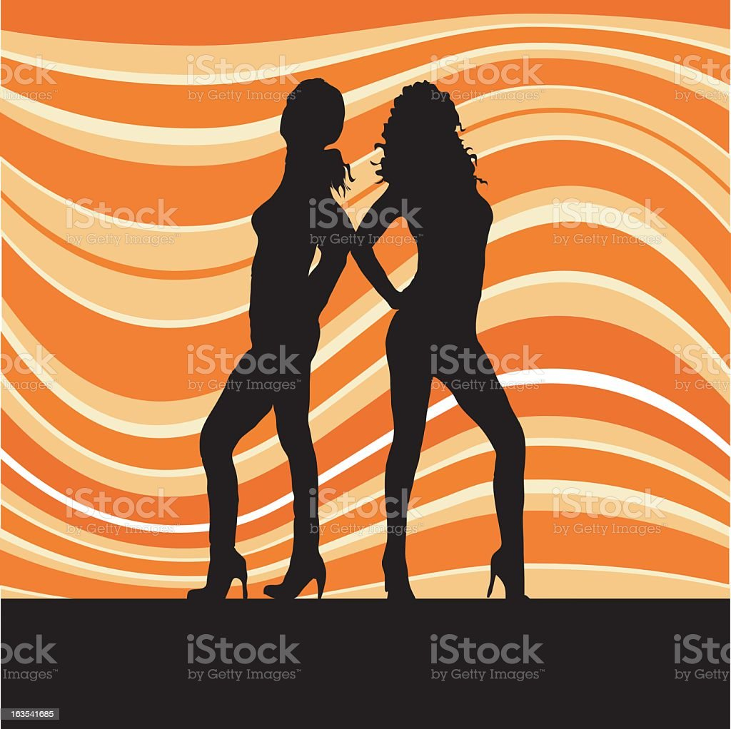 Sexy females on retro background royalty-free stock vector art