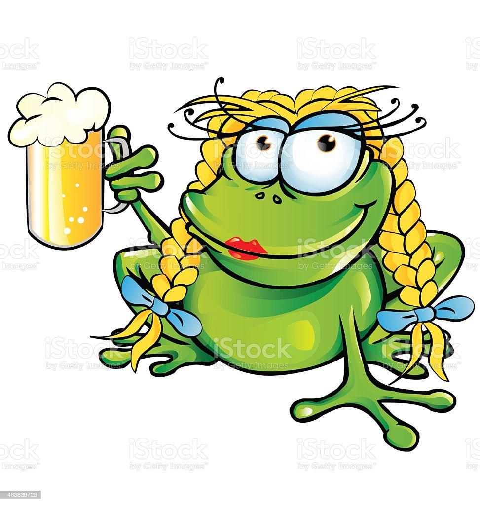 sexy girl frog  cartoon with schooner beer vector art illustration
