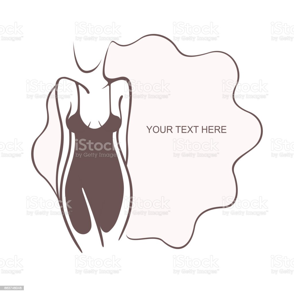 Sexy girl in a refined intimate pose. Fashion and beauty. Vector graphic illustration, place for text, Flyer, banner icon for design vector art illustration
