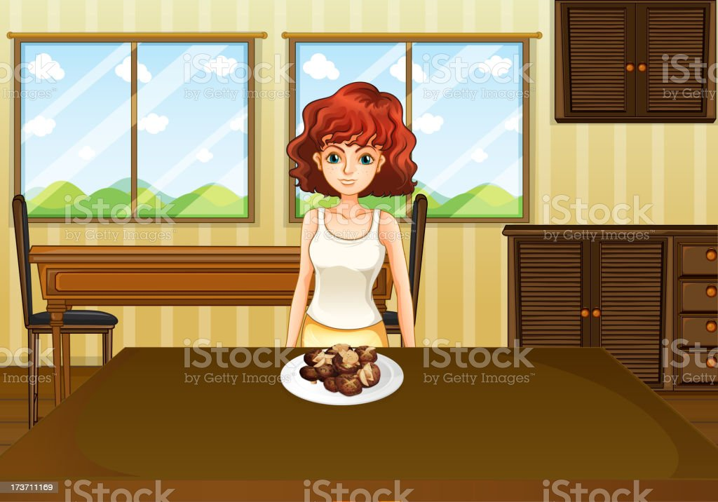 Sexy girl standing in front of a table with food royalty-free sexy girl standing in front of a table with food stock vector art & more images of adult
