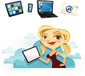 Sexy girl with tablet - In the cloud!