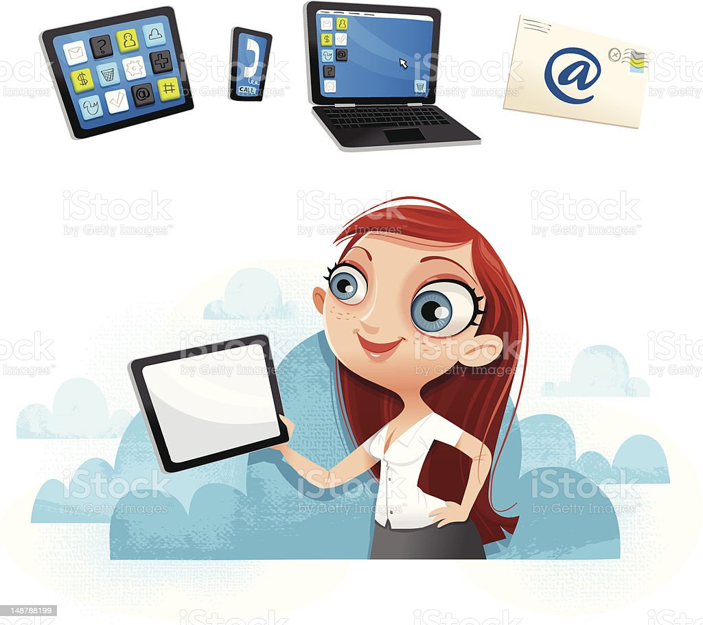 Sexy girl with tablet - In the cloud! royalty-free sexy girl with tablet in the cloud stock vector art & more images of adult