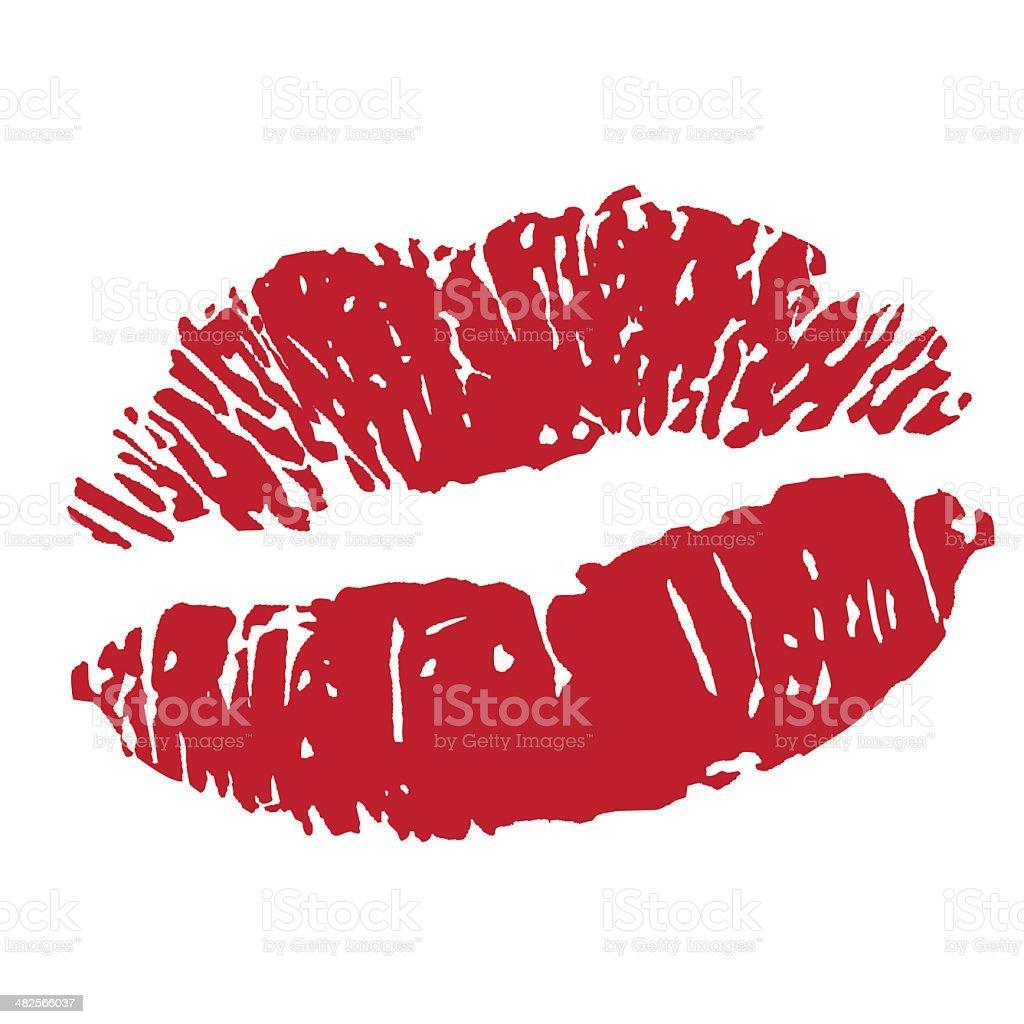 sexy kiss lipstick print vector art illustration