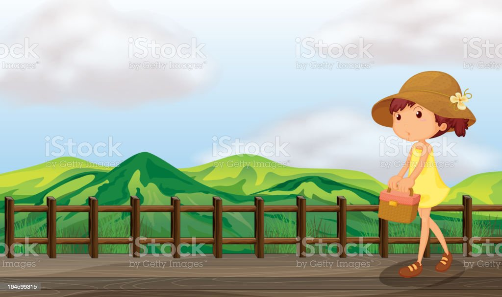 Sexy lady walking in the bridge royalty-free stock vector art